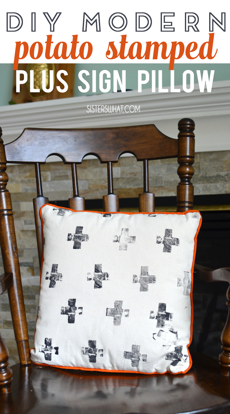 diy modern couch pillow potato stamped plus sign