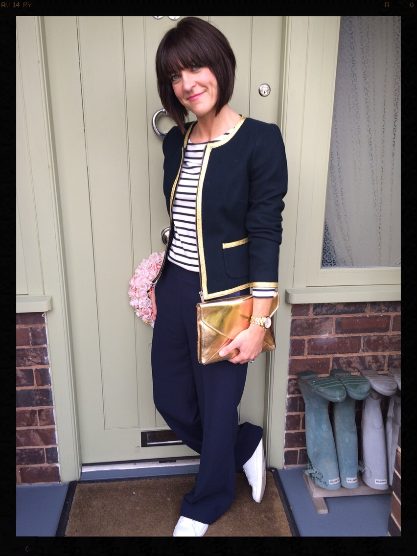 My Midlife Fashion, breton, wide legged trousers, white trainers, zara, boden, banana republic