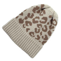 neutral tan and brown leopard animal print winter hat