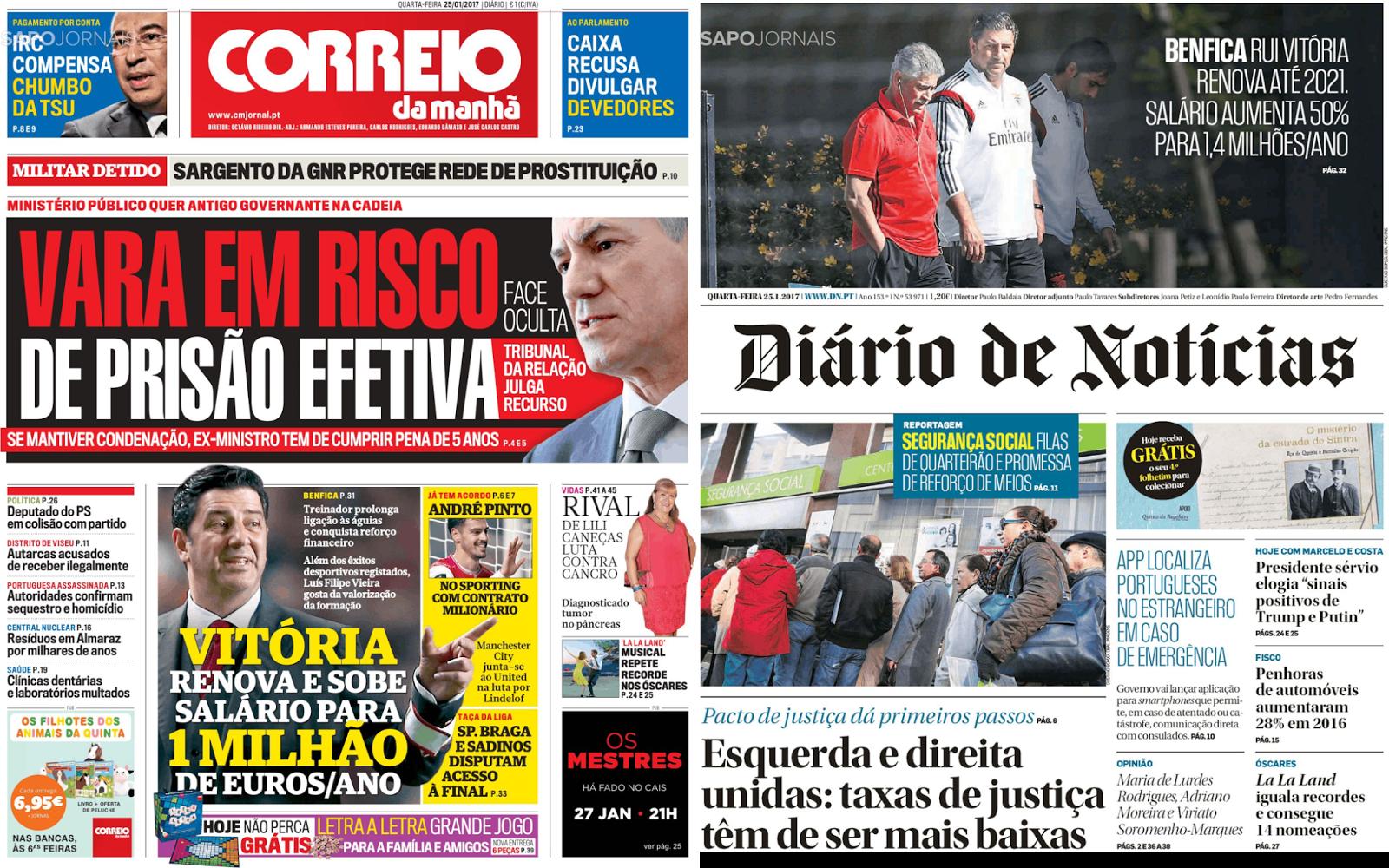 Nos generalistas a notícia teve alcance semelhante com dois enormes  destaques nas capas do Correio da Manhã e Diário de Notícias. 80193c43dbd60