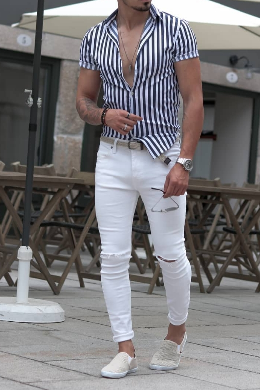White jeans with half sleeve shirts