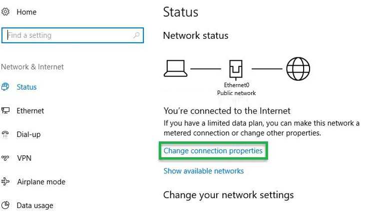 chọn Change connection properties trong thẻ Status