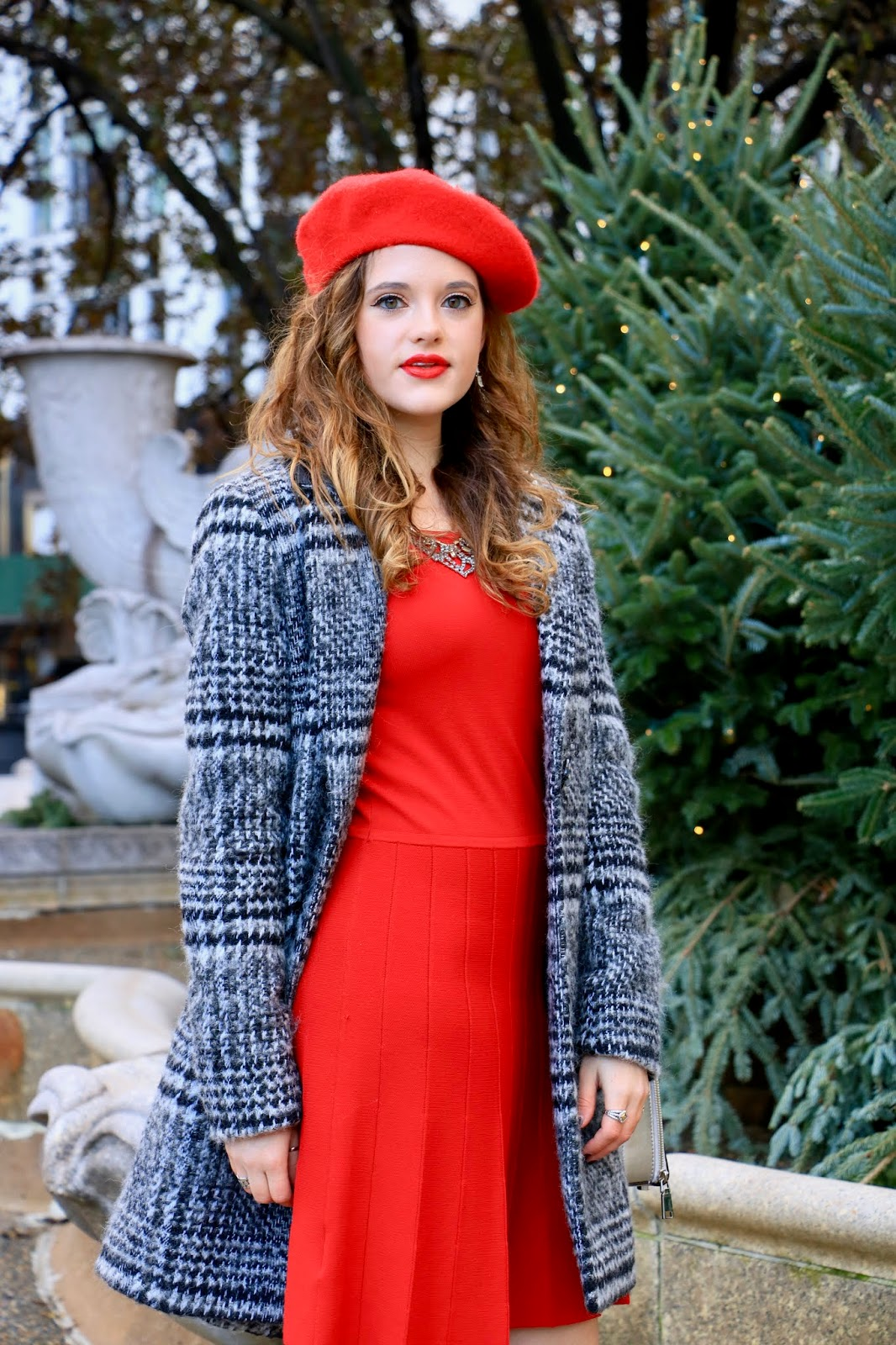 Nyc fashion blogger Kathleen Harper wearing a red holiday dress