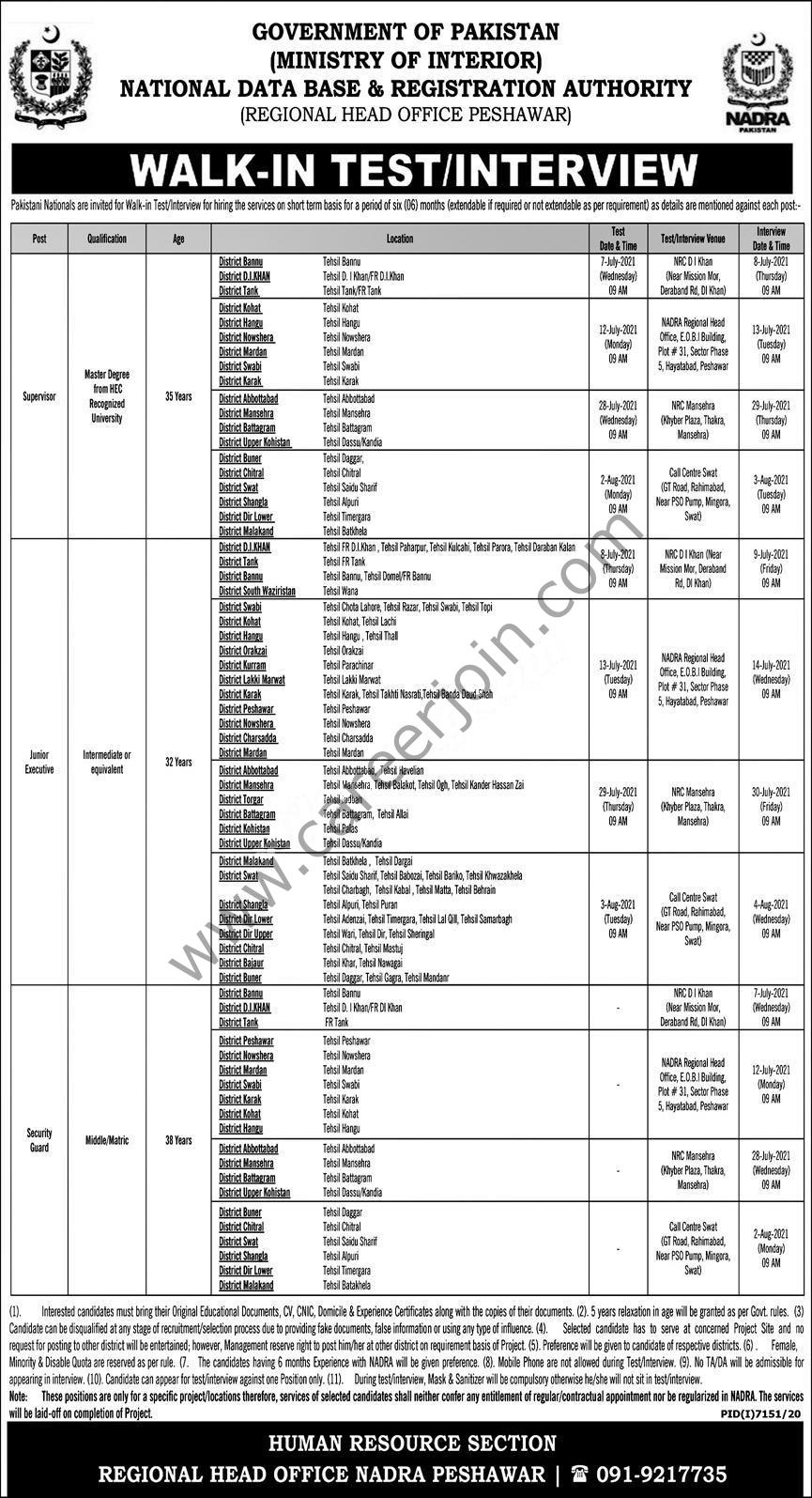National Database & Registration Authority NADRA Jobs 2021 in Pakistan