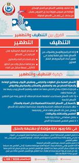 الفرق بين التنظيف والتطهير وكيفيتهم والعزل المنزلي من وزارة الصحة