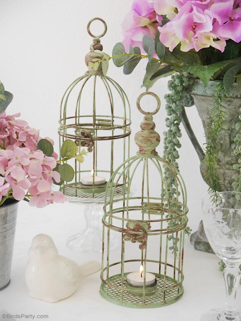 Décor de Table de Campagne Rustique avec des Objets Chinés -  parfait pour un dîner, des fiançailles, des mariages ou un anniversaire de printemps! by BirdsParty.com @birdsparty #deco #decor #decordetable #artdelatable #diy