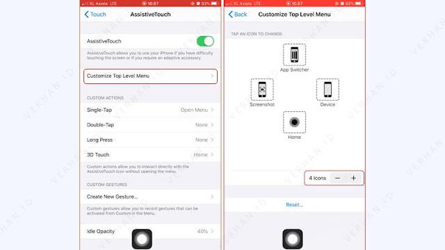 ubah menu assistive touch iphone