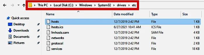 Host file location in C Drive