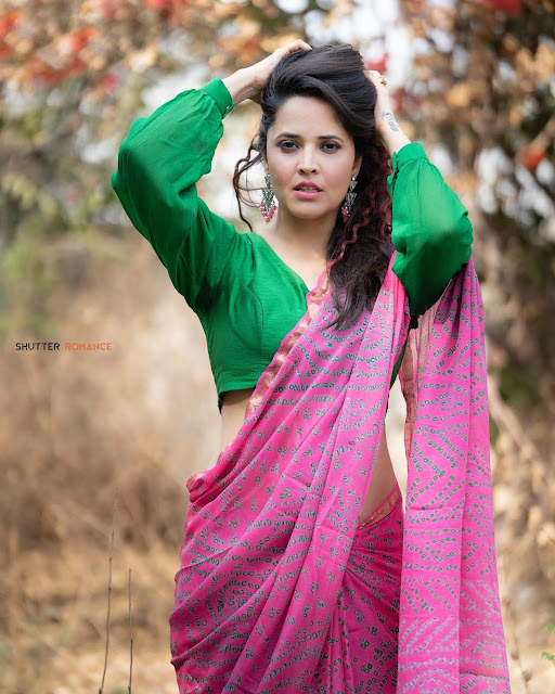 Hot Anchor Anasuya Bharadwaj Latest Saree Photoshoot Stills Navel Queens