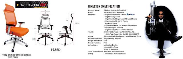 tipe T932D kursi direktur speksifikasi orange