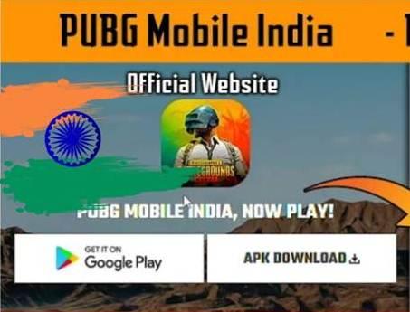 PUBG MOBILE का डाउनलोड  बटन उनकी मैन वेबसाइट पर देखा गया