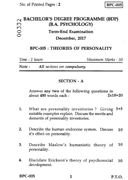 BPC-005 PREVIOUS QUESTION PAPERS FOR IGNOU BDP (BA)
