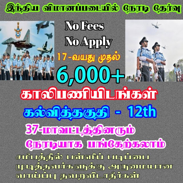 மதுரையில் விமானப் படைக்கு ஆள்தோ்வு முகாம் ஏப்.11 முதல் 15 வரை நடைபெறும்  Air Force Recruitment in Mudurai 2020