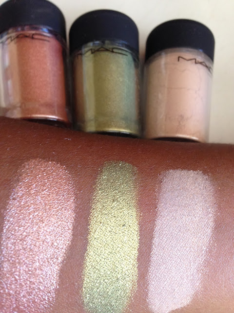 M.A.C 'Tan', 'Golden Olive' and 'Naked' Pigments swatches - www.modenmakeup.com