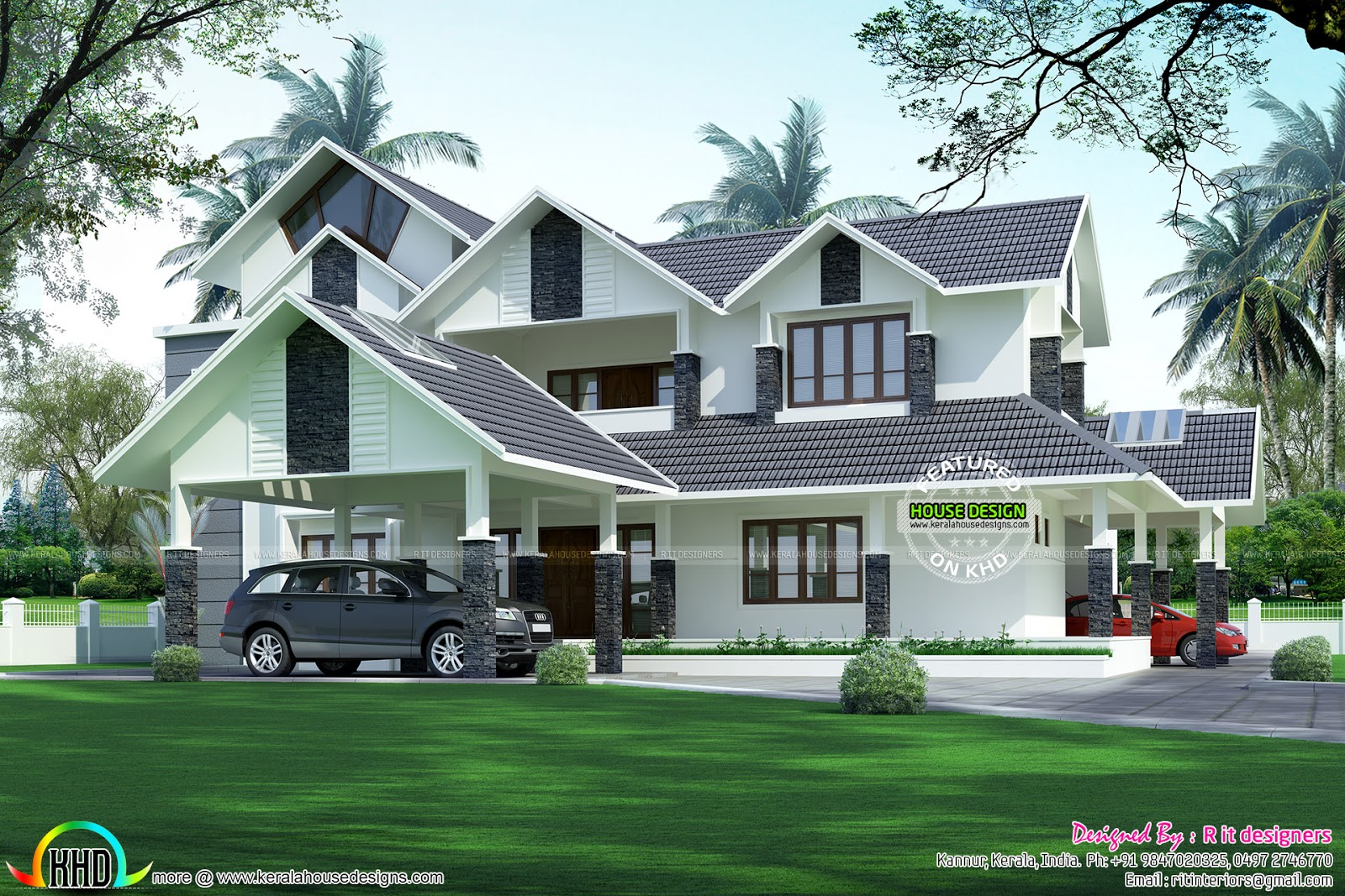 Luxurious 2 Car Porch House Kerala Home Design And Floor Plans
