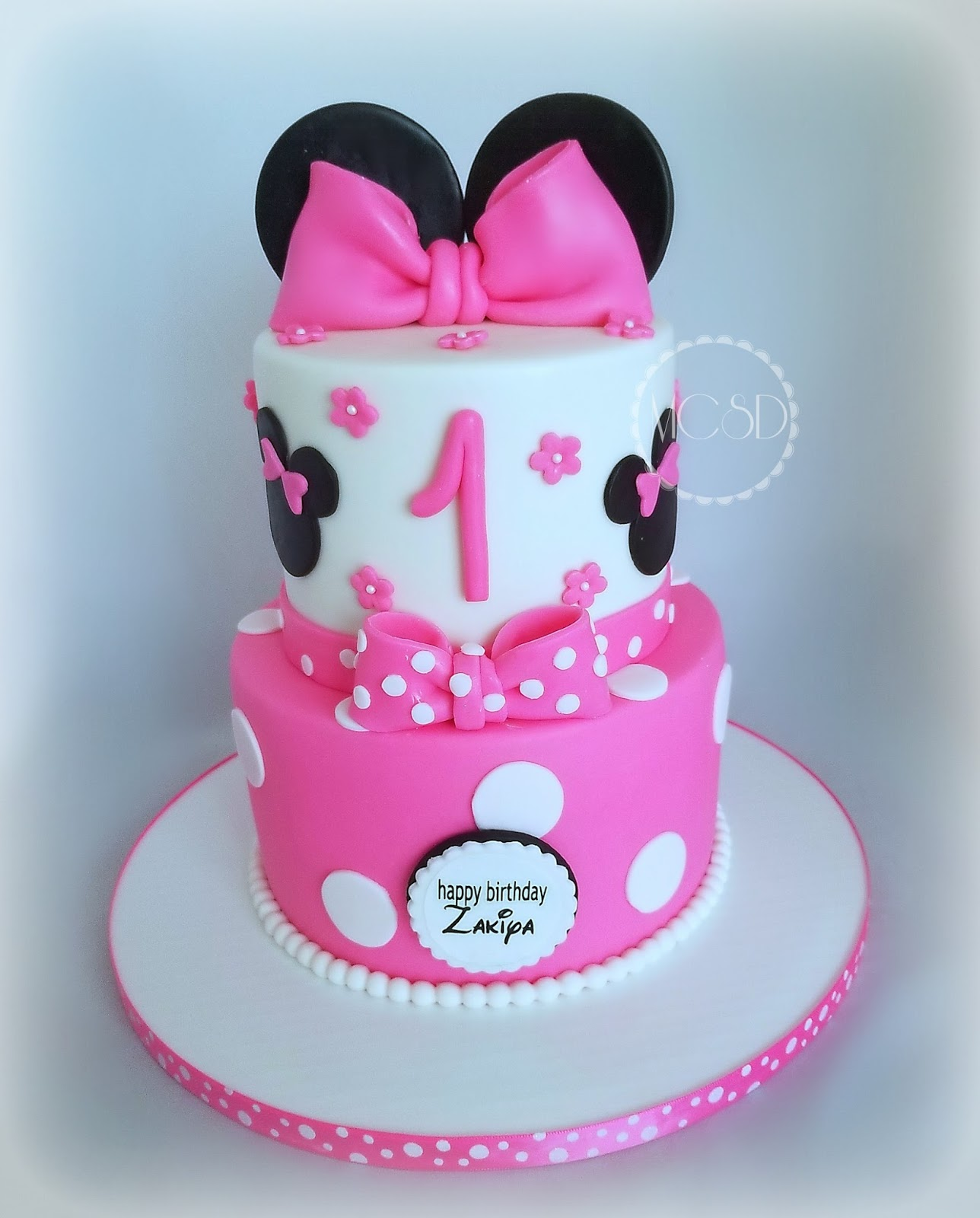 Strange Cakesbyzana Minnie Mouse 1St Birthday Cake Personalised Birthday Cards Veneteletsinfo