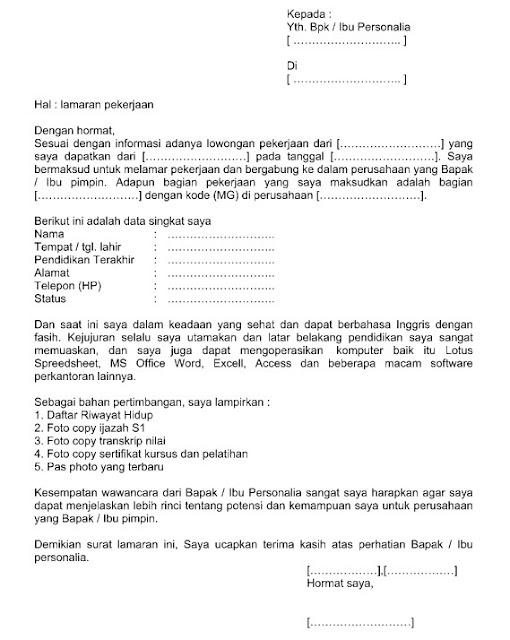 Surat Lamaran Kerja  Pengertian, Fungsi, Cara Penulisan, Bagian Penting dan Contohnya dalam Format Word  Doc