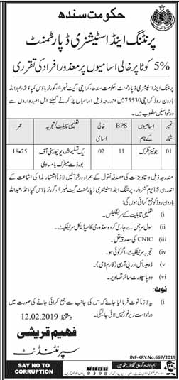 Printing and Stationery Department Sindh Jobs for Junior Clerk
