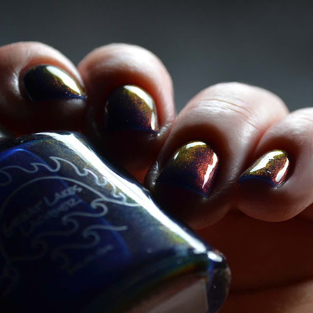 blue color shifting nail polish swatch low light