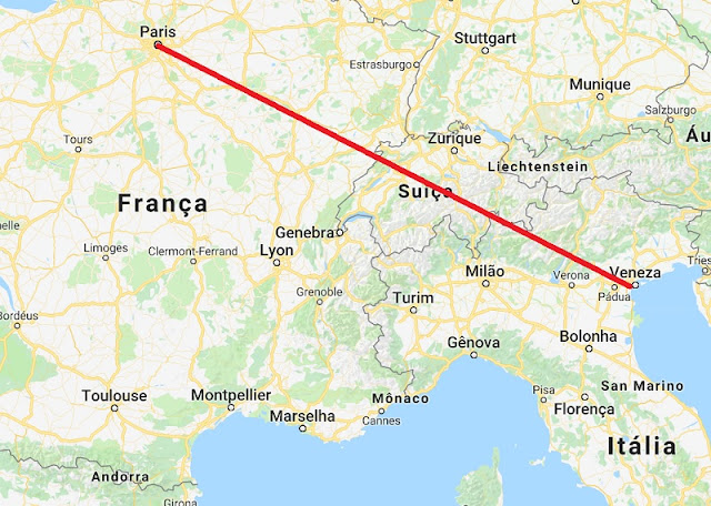 Mapa da viagem de Veneza para Paris