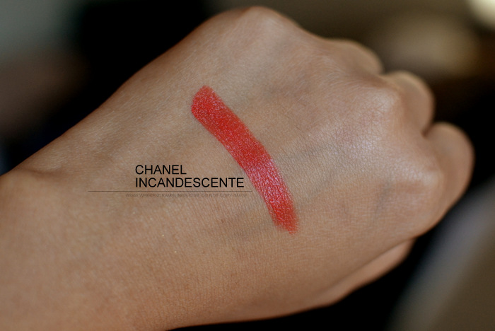 Today's makeup Swatches Chanel lipstick Incandescente Rouge Allure Intense Indian Beauty Blog