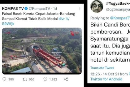Samakan Proyek Kereta Cepat Dengan Pembangunan Candi Borobudur, Warganet Dibuat Ngakak Pendukung Jokowi