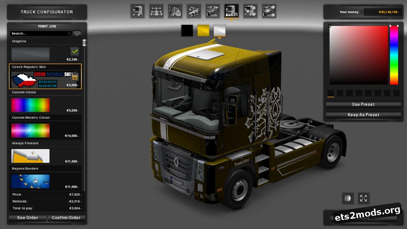 Metallic Czech Skin for Renault Magnum