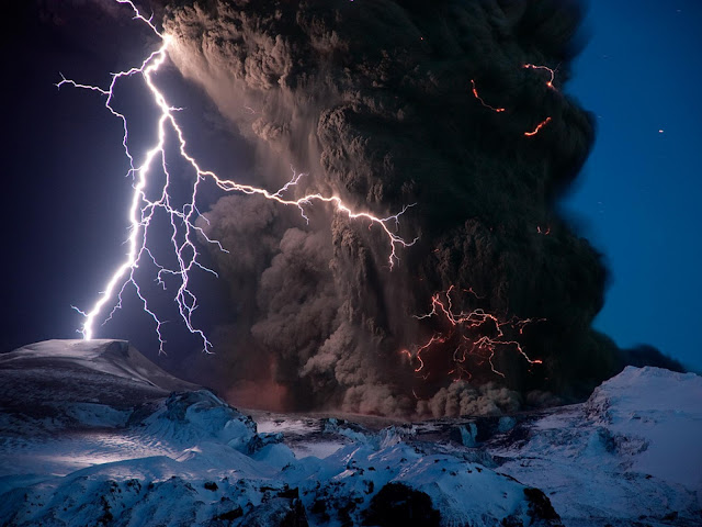 Ash and Lightning above Eyjafjallajökull Volcano