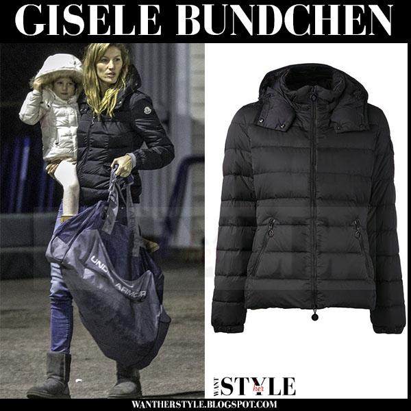 f47c674bbf1 Gisele Bundchen in black puffer Moncler jacket ~ I want her style ...