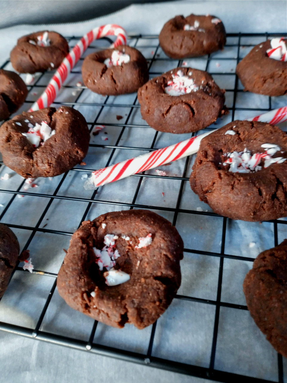 chocolate peppermint thumbprints on cooling rack