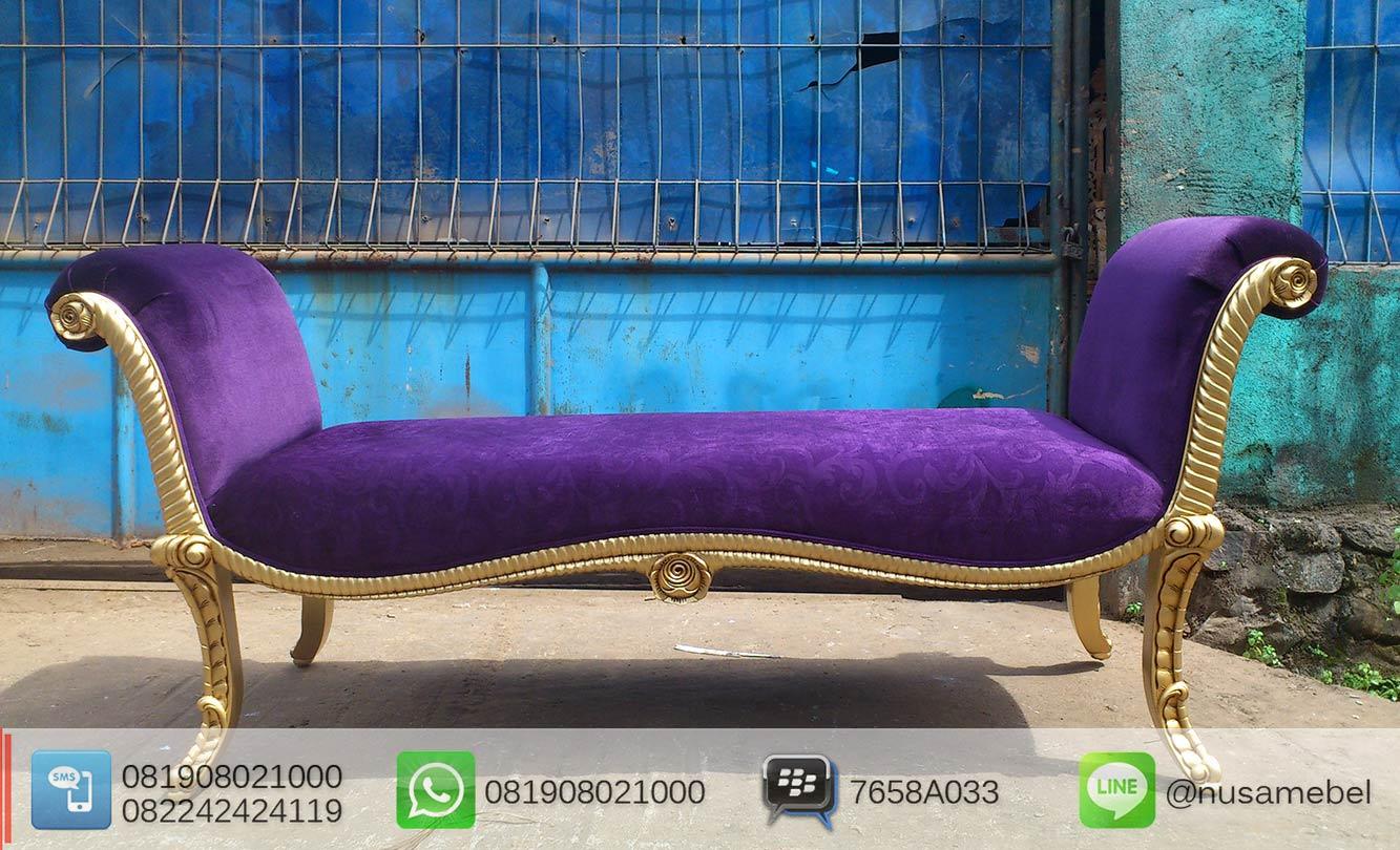 Mahogany French Bedroom Bench Violet Fabric