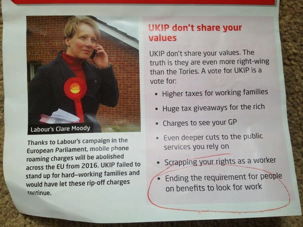 Labour election leaflet, picture of a young woman on a mobile. Text on roaming charges and various attacks on UKIP policy - see below for further details
