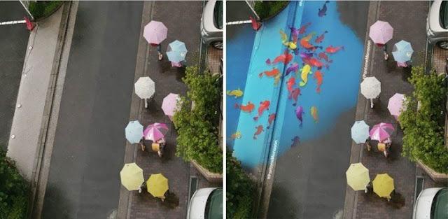 La hermosa obra de arte que solo aparece cuando llueve
