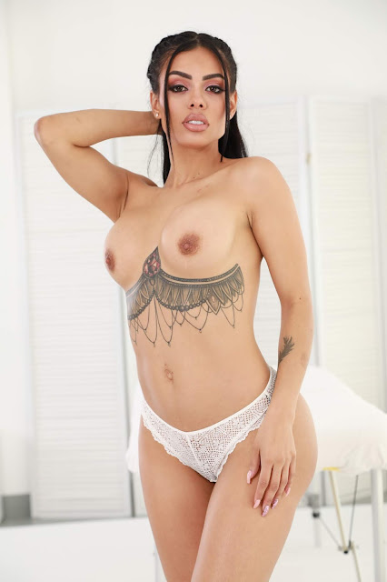 Canela Skin sexy naked tits hot white panties hand on hair