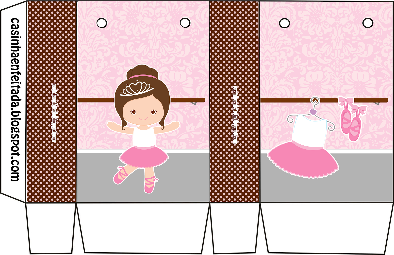 9213df929d Casinha de Criança  Kit Festa Bailarina Marrom e Rosa Para Imprimir