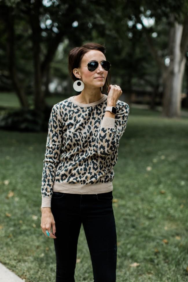 J.Crew Merino Wool Crewneck Sweatshirt in Leopard.