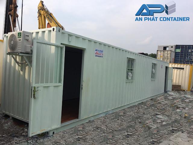 Container văn phòng 40 feet với thiết kế cơ bản. Container văn phòng 40 feet kiểu này được trang bị toilet, điều hòa đầy đủ.