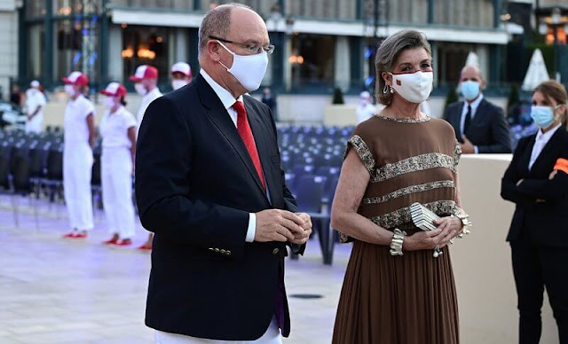 Carlotte Casiraghi in Chanel dress. Princess Caroline in Chanel brown dress. Tatiana Santo Domingo in Giambattista Valli dress