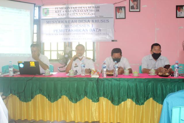 Hasil mudesus Desa Subah terkait BLT DD untuk bantuan Pandemi Covid-19