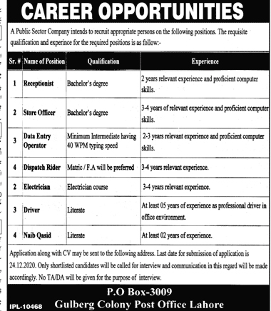 Latest Public Sector Organization P.O Box-3009 Jobs Opportunities 2020