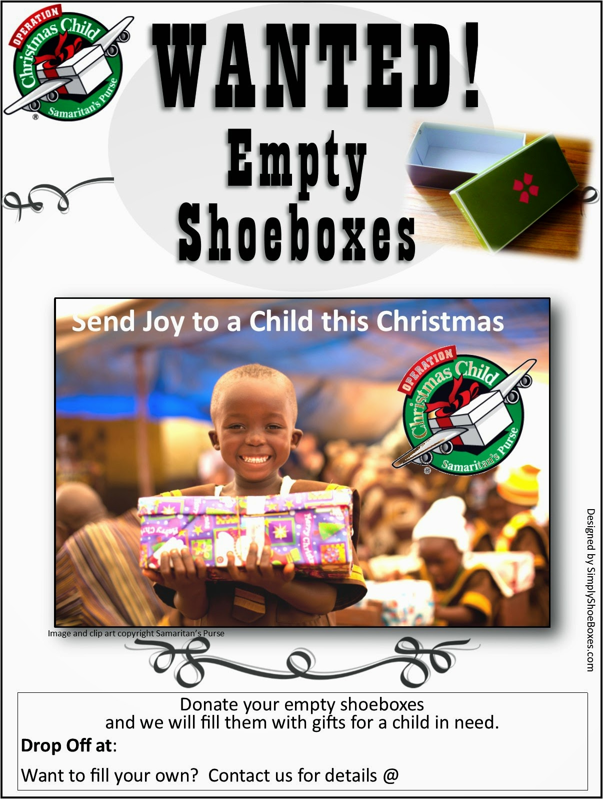 Simply Shoeboxes: WANTED Poster: Empty Shoeboxes for ...