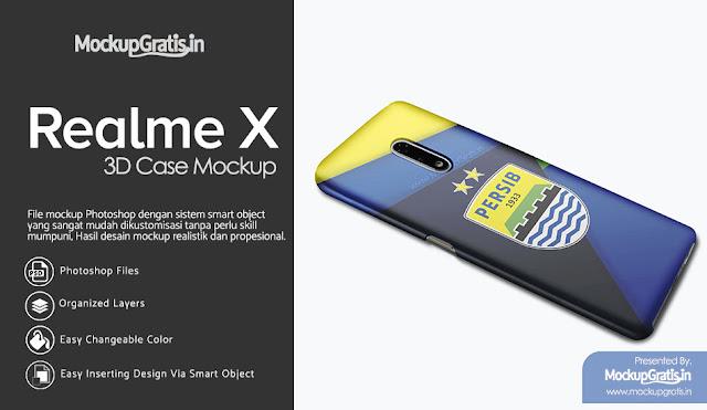 PSD Mockup Custom Case Realme X Gratis