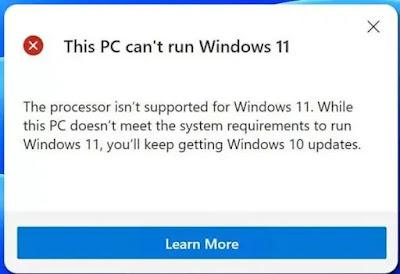 مشكلة عدم توافق ويندوز This PC can't run Windows 11