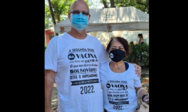 Casal conta que foi impedido de se vacinar usando camisa contra Bolsonaro.