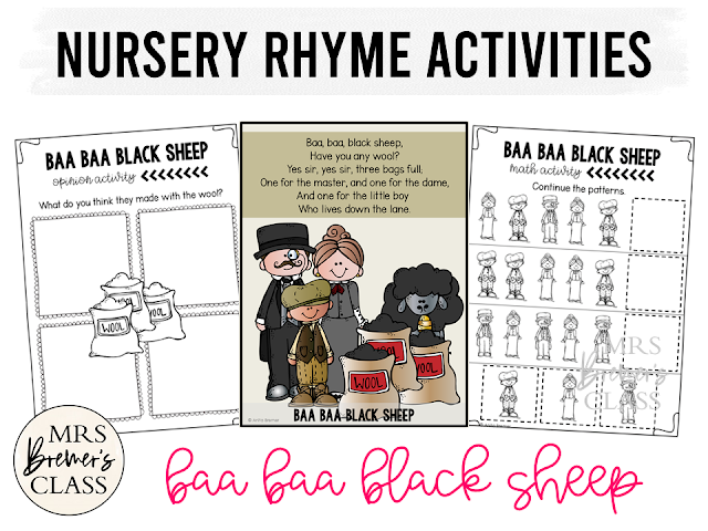 Baa Baa Black Sheep activities unit with literacy and math Common Core aligned companion activities for Nursery Rhymes in Kindergarten