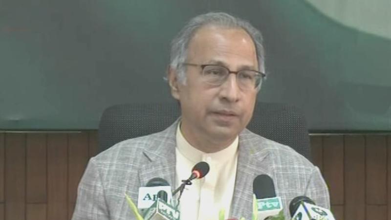Hafeez Shaikh addressing post budget press conference