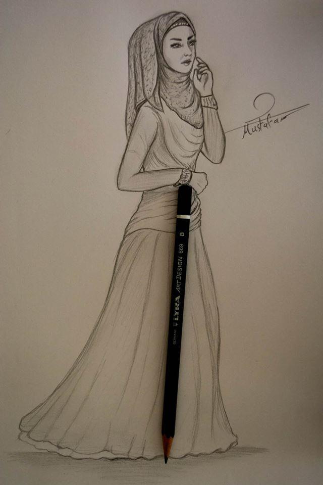 تعلم رسم بنت محجبة بالرصاص مع جسم كامل للمبتدئين تعلم الرسم