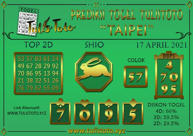 Prediksi Togel TAIPEI TULISTOTO 17 APRIL 2021