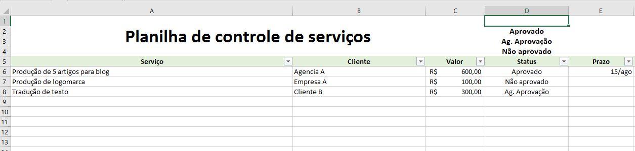 Planilha de controle de serviços em home office