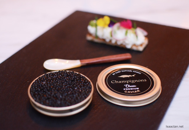 Chef Raphel Caviar Tin and Vanilla Poached Lobster and Crustacaen Gelee